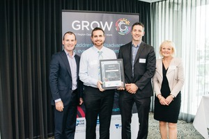Give Where You Live Foundation CEO Bill Mithen with new GROW signatories Cameron Shepherd and Nathan Holmes of AusPits, and G21 CEO Elaine Carbines